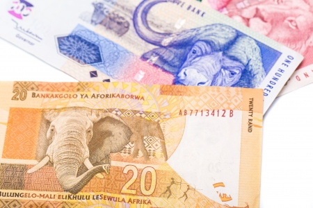rand: Close up of 20 50 100 South African currency the Rand isolated on white background Stock Photo