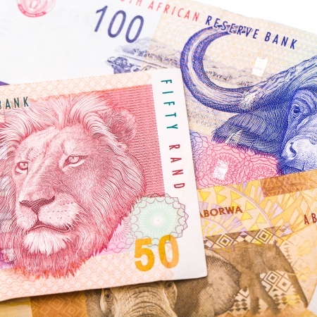 Close up of 20 50 100 South African currency the Rand isolated on white background Stock Photo