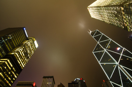 Hong Kong at night, view from below. Bank architecture photo