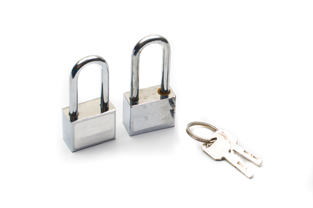 overt: lock with keys isolated on white background,twin