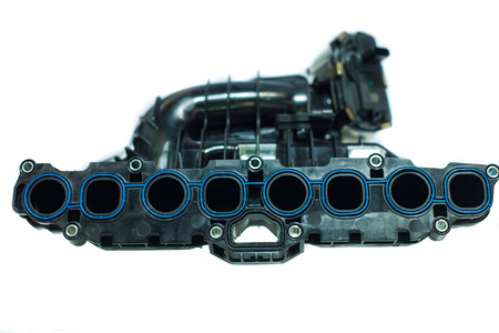 The powerful engine of the modern car, Intake Manifold isolated on whited
