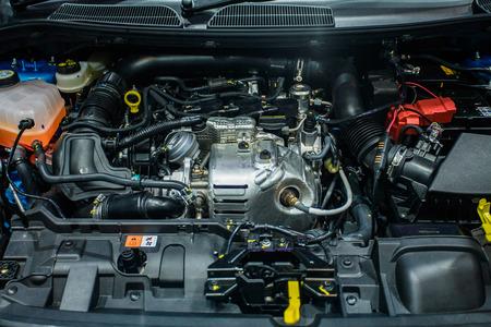 Closeup of car engine clean motor block, Metal engine