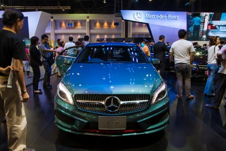 NONTHABURI - DECEMBER 8: The new Mercedes Benz A250 display on stage at The 30th Thailand International Motor Expo on December 8, 2013 in Nonthaburi, Thailand.