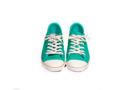 vintage green shoes on white background photo