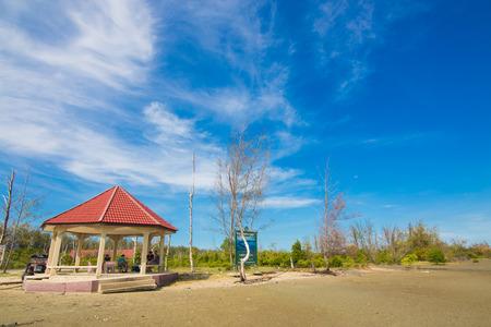 palapa: Cabin palapa hut sea beach, summer day blue sky