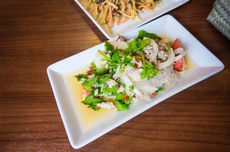 Thai spicy noodle salad, spicy vermicelli salad (yum woon sen) photo