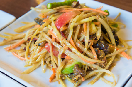 Papaya Salad ,Somtum Thai Food close up Stock Photo