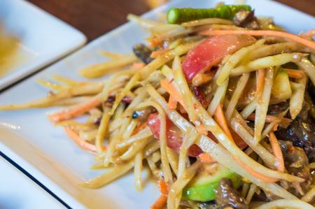 Papaya Salad ,Somtum Thai Food close up photo