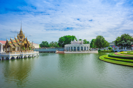grand pa: Bang Pa-In Palace in Thailand on blue sky day Stock Photo