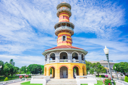 grand pa: tower in the palace area of Bang Pa In, Royal residence Bang Pa In, Thailand