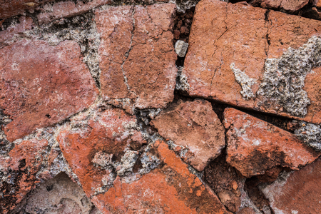 Reclaimed: Old red brick wall in Thai temple grunge background.