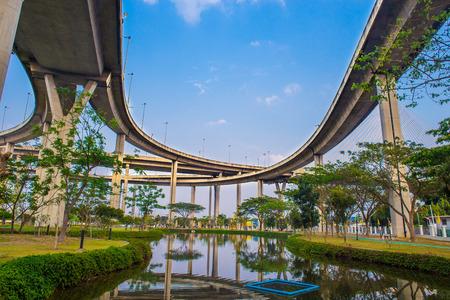 samutprakarn: Ring Road  and Bhumibol Bridge on blue sky at bangkok,thailand.