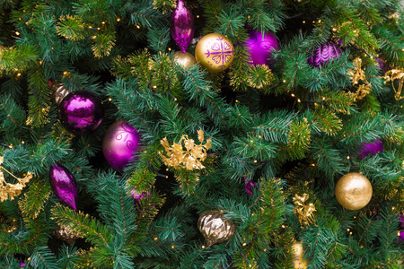 Christmas tree on background, sparkling and fairy background Archivio Fotografico