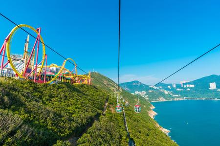 HONG KONG - DEC 09, 2014: Hong Kong Ocean Park Roller Coaster. Ocean Park is situated in Wong Chuk Hang and Nam Long Shan in the Southern District of Hong Kong, China. Editoriali