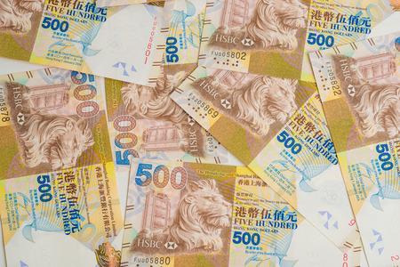 wads: Background of hong kong dollar banknotes , 500 HKD