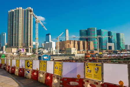 skylines: Construction site in Hong Kong near Kowloon station , modern skylines as background