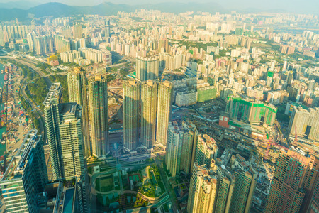 bird view: Cityscape of Hong Kong bird view from sky100, Hongkong building Stock Photo