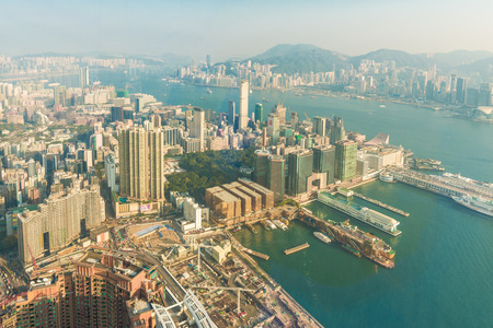bird view: Cityscape of Hong Kong bird view from sky100, Victoria harbour