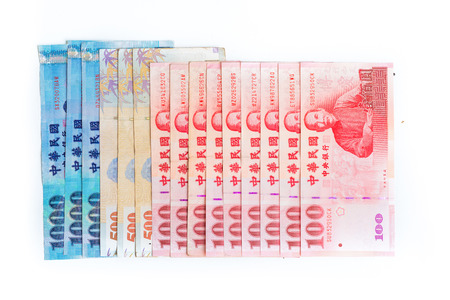 nt: Spread of 1000, 500 and 100 New Taiwan Dollars bill isolated on white background Stock Photo