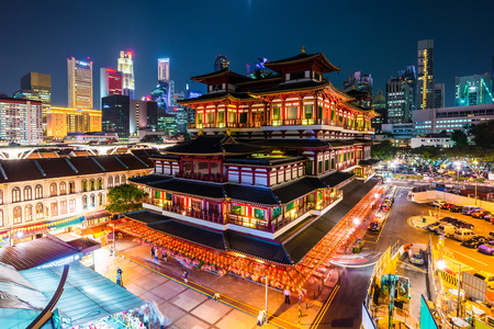 relic: Buddhas Relic Tooth Temple in Singapore Chinatown, Night cityscape