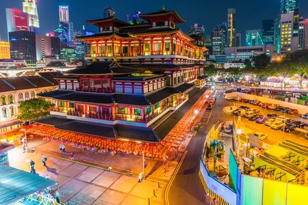 relic: The Buddha Tooth Relic Temple at night in Singapores Chinatown Editorial
