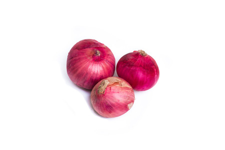 Shallot, Red onions on a white background, close-up Stock Photo