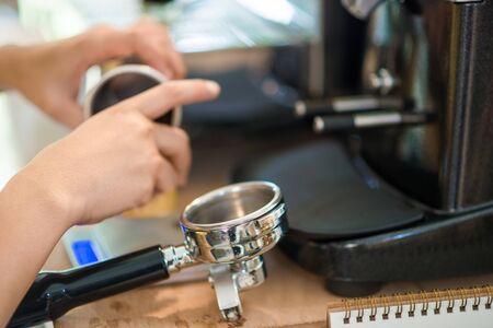 automat: Prepares espresso in modern coffee shop, Coffee machine