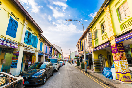 singaporean: SINGAPORE - MARCH 5: Little India district on March 5, 2015 in Singapore. Little India  is Singaporean neighbourhood east of the Singapore River Editorial