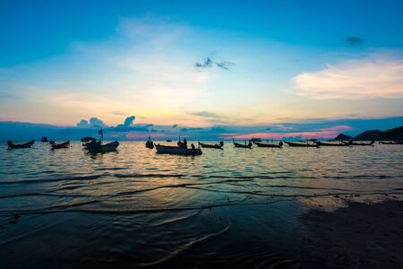 tao: Beautiful sunset with boat at Koh Tao, Tao island Thailand