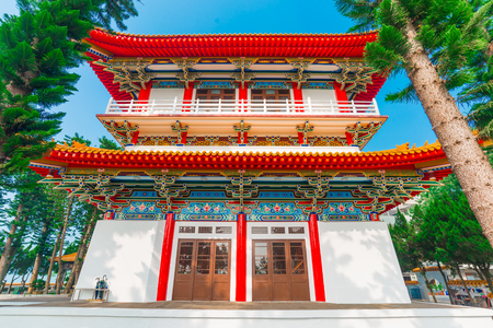 wen: Architecture of Wen Wu (Wenwu) Temple on Sun Moon Lake against blue sky in Taiwan