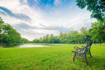 Bench sit in beautiful meadow green park in front of pond, Empty park bench with lake Stock Photo