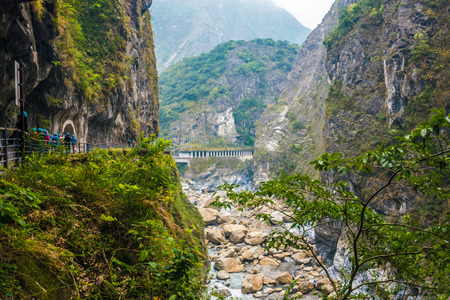 Taroko national park with river and rock in Taiwan.