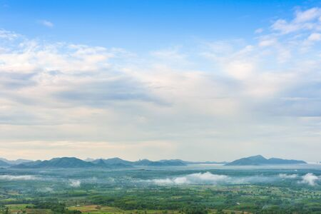 loei: Mountains landscape misty morning sunrise in Loei, Thailand Stock Photo