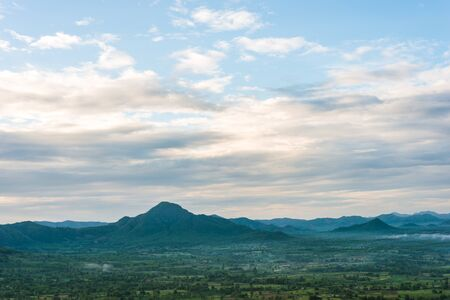 gradual: Beautiful summer sunrise in mountains. Loei Thailand Stock Photo