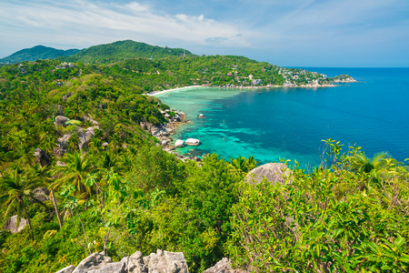 southern thailand: Viewpoint of Tao island locate at southern of Thailand, Green tree many of coconut Stock Photo