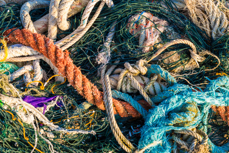 fish net: Background of old strings ropes and fishing net, Close up fish net Stock Photo
