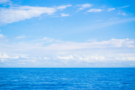 horizon over water: Summer landscape with sea and horizon over water, sea and sky background