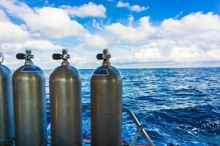 oxigen: Oxigen tanks on boat for scuba diving, Diving equipment