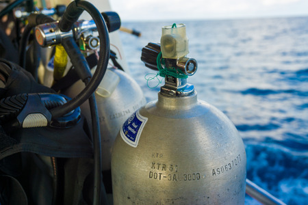 oxigen: Set of diving equipment on the boat and Oxigen tanks for scuba diving