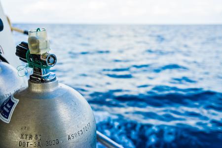 oxigen: Oxigen tanks on boat for scuba diving, Diving equipment