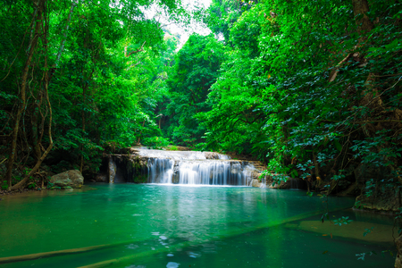Green scene at Erawan Waterfall, Erawan National Park in Kanchanaburi, Thailand Stock fotó