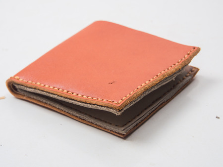 Close up of Hand made Genuine leather on white background
