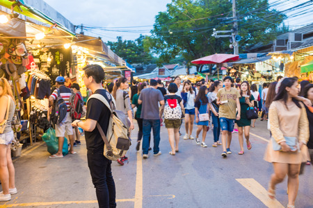 BANGKOK, THAILAND -  OCTOBER 10: Tourist shops at Jatujak or Chatuchak Market on October 10, 2015 in Bangkok, Thailand. Jatujak Market is the largest market in Thailand.