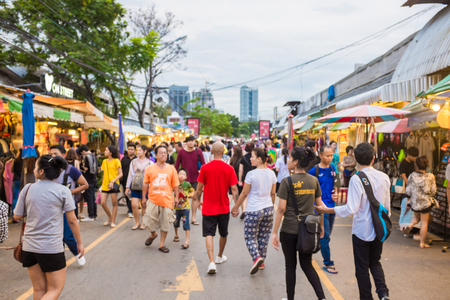 BANGKOK - OCTOBER 10: Tourist shopping in Chatuchak weekend market on October 10, 2015 in Bangkok, Thailand Open 8am - 6pm Sat Sun , It is the largest market in Thailand Editorial