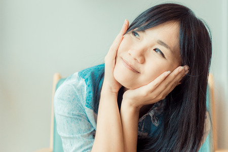 fortunate: Portrait of happy smiling asian women, Asian woman relax at home
