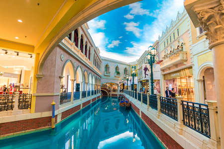 MACAU, CHINA - OCTOBER 21th 2015 : The Venetian Hotel, Macao - The famous shopping mall, luxury hotel and the largest casino in the world