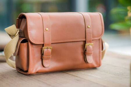 leather briefcase: Brown Vintage leather briefcase, Bag background Stock Photo