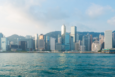 Hong Kong City view of victoria harbour in fresh morning Stok Fotoğraf