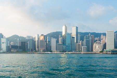 hong kong city: Hong Kong City view of victoria harbour in fresh morning Stock Photo