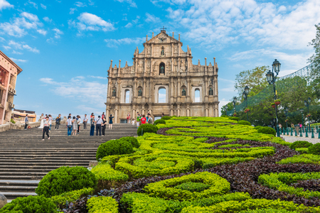MACAU, MACAU - OCTOBER 22,2015 - Ruins Of Saint Pauls Cathedral. Built from 1582 to 1602 by the Jesuits. Was destroyed by a fire during a typhoon in 1835. Editöryel
